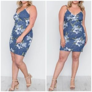 TRAC Plus Size Chic Tropical Print Mini Dress